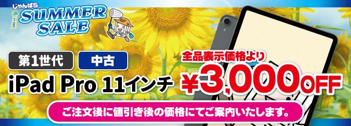 サマーセール iPad Pro 11インチ 第1世代 3000円OFF