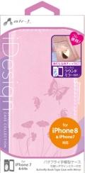 air-JAC-P7-BF5 PK iPhone8/7/6s/6専用 バタフライ手帳型ケース ピンク