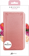 air-JAC-P18M-VT PK iPhoneXR用 シャイニー型押しスリム手帳型ケース ピンク