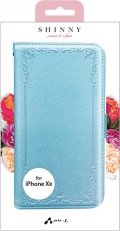 air-JAC-P18M-VT BL iPhoneXR用 シャイニー型押しスリム手帳型ケース ブルー