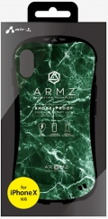 air-JAC-P8-AZ GRM iPhoneXS/X兼用 耐衝撃スマートバックカバーケース グリーンマーブル